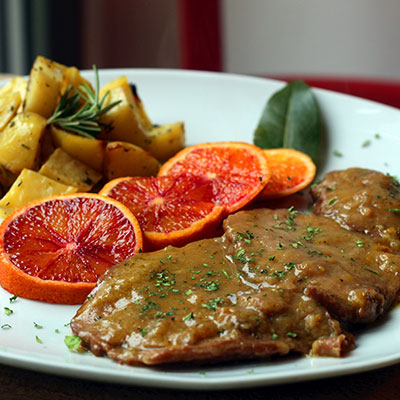 Scaloppine di seitan all'arancia